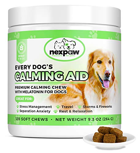 NEXPAW Calming Treats for Dogs with Melatonin - Best for Anxiety from Separation - Thunder - Travel - Safe & Natural Aid - Canine Stress Helper - 120 Wheat Free Soft Chews Dogs Love (Best Medication For Dog Separation Anxiety)