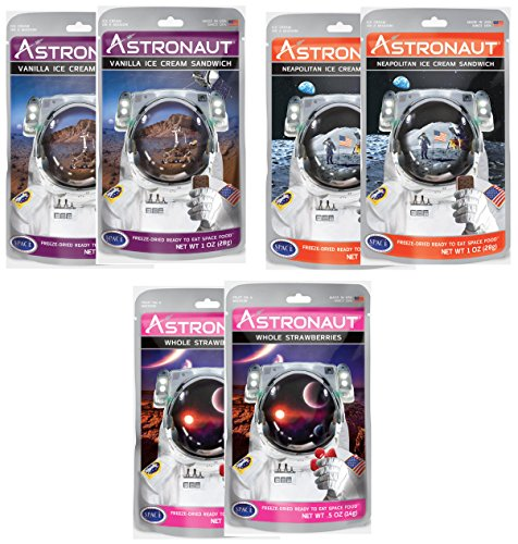 Astronaut Freeze Dried Ice Cream – Vanilla & Neopolitan Ice Cream and Whole Strawberries - 6 Packs