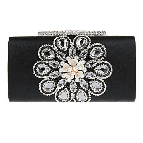 KAXIDY Luxus Damentasche Clutch Handtasche Abendtasche Satin Brauttasche mit Strass Schwarz