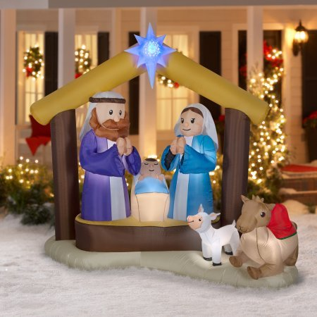 Outdoor Lighted White Nativity Set - 7