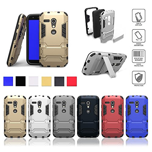 Moto G2 Case,Motorola G 2nd Generation 2015HOT New Design Shockproof Absorbing Dual Layer Hybrid Cover Kickstand High Impact Resistant Durable Full Body Protection - Fits Moto G 2nd only (gold)