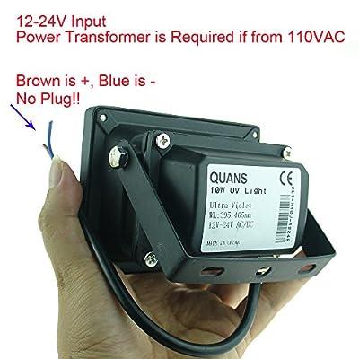 QUANS 10W 12V 24V AC DC UV Ultra Violet High Power LED Light for Curing Glue Blacklight Fishing Aquarium, 12-24V INPUT Low Voltage Without Plug