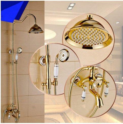 GOWE Luxury High-grade Wall Mounted Dual Handles Rainfall Shower Set Faucet with Hand Shower Sprayer + 8