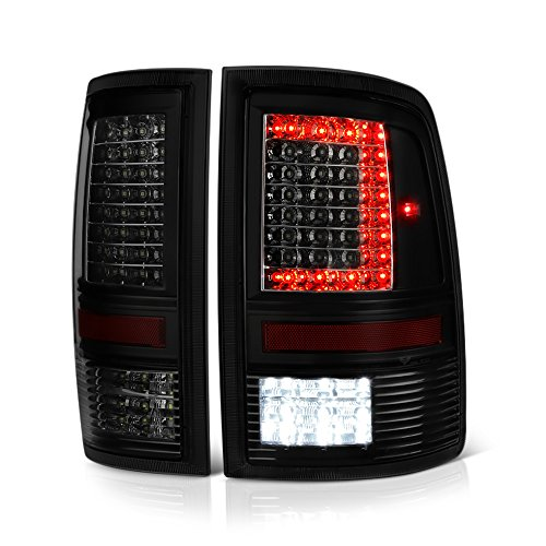 VIPMOTOZ C-Shape Full LED Tail Light Lamp For 2009-2018 Dodge RAM 1500 2500 3500 - [Factory Incandescent Model] - Matte Black Housing, Smoke Lens, Driver & Passenger Side