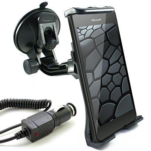KFZ Set für MICROSOFT Lumia 650 / 640 / 550 / 540 / 535 / 532 / 435 / auch XL, LTE & Dual SIM Modelle / KFZ Halter (Mod:2) für die Windschutzscheibe inkl. Auto Ladekabel