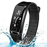 Smart Bracelet with 4 Kinds Time Dispaly -HOMESTEC S4 Puls Blood Pressure Monitor Health Tracker Activity Fitness Wristband Pedometer for iPhoneX/8/7/7Plus/6/6s/6 Plus, Android and iOS Smart Phones