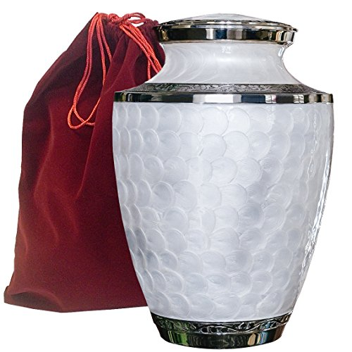 Everlasting Love Beautiful and Timeless White Adult Cremation Urn For Human Ashes - This Large Elegant Mother of Peal Enamel and Nickel Urn Is a Perfect Tribute to Honor Your Loved One- w Velvet Bag Modern White Mother Of Pearl