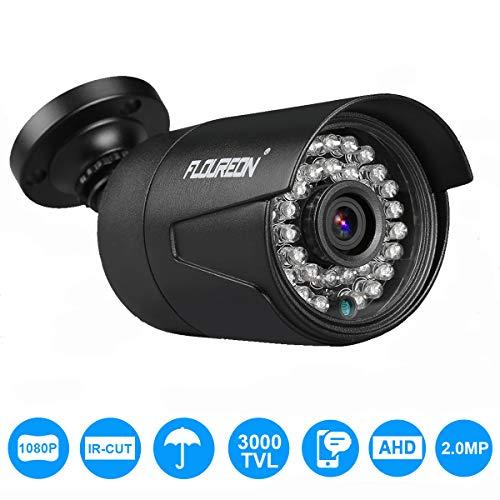 FLOUREON 3000TVL Outdoor Security Camera 2.0MP CMOS Bullet Camera 1080P/1080N NTSC AHD CCTV DVR Camera IP66 Waterproof IR-Cut Night Vision for Home, Office, Shop, Business, Restaurant
