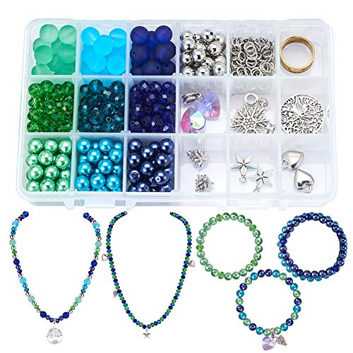 SUNNYCLUE 1 Box 450pcs Jewelry Making Starter Kit - Jewelry Making Supplies for Adults and Women,Jewelry Findings & Beads Kit & Tools for DIY Necklace Bracelet, Bluish Green