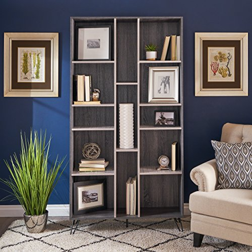 Jerry Modern Two Toned Grey Oak Finished Faux Wood Bookshelf by Great Deal Furniture