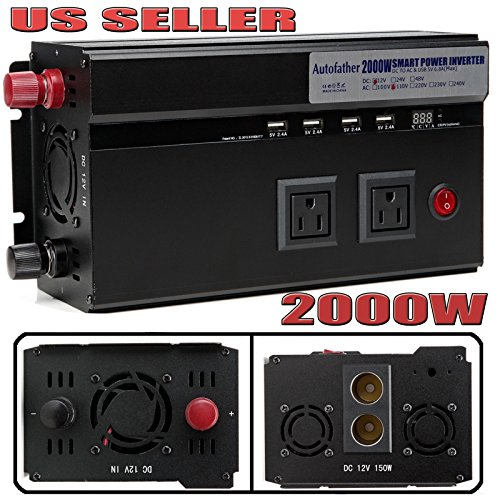 Autofather 2000W Car Power Inverter DC 12V TO AC 110V Charger Converter 2 Cigarette Lighter Sockets + 4 USB Charging Ports + 2 US Standard Outlets For Travel Phone/Computer/Laptop/Hairdryer/Camera by Autofu