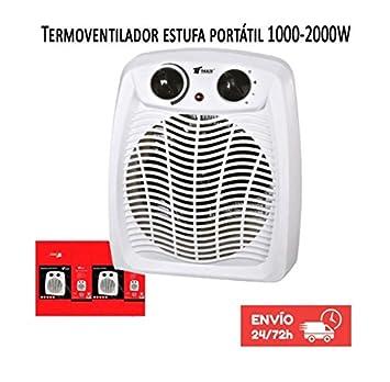 Calefactor Estufa Termoventilador portatil 1000-2000W Termostato regulable. Protección contra sobrecalentamiento. Función de aire frío.: Amazon.es: Hogar