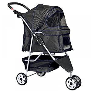 New Black Pet Stroller Cat Dog Cage 4 Wheels Stroller Travel Folding Carrier from Bestpet