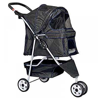 New Black Pet Stroller Cat Dog Cage 4 Wheels Stroller Travel Folding Carrier from Bestpet