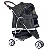 BestPet New Pet Stroller Cat Dog Cage 3 Wheels Stroller Travel Folding Carrier Review