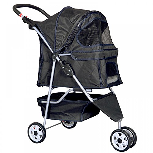 New Black Pet Stroller Cat Dog Cage 4 Wheels Stroller Travel Folding Carrier