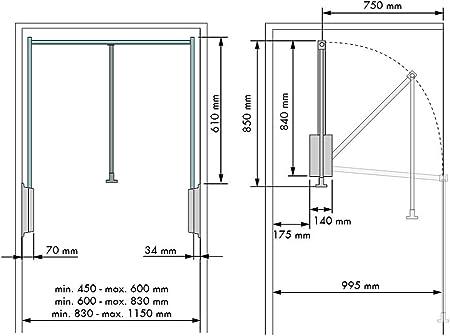 Casaenorden - Barra de Armario abatible- Colgador abatible para Armario - Anchura Regulable - Ancho 830-1150mm