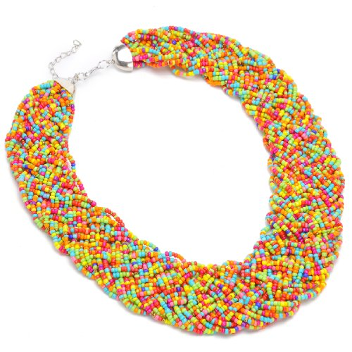 Jerollin Fashion Gold Tone Chain Water Drop Olivary Colorful Resin Beads Pendant Bib Necklace (Necklace Drop Bib)