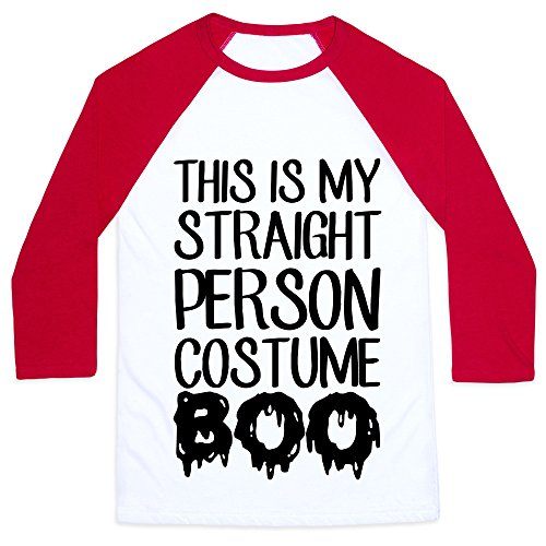 LookHUMAN Straight Costume White/Red Medium Mens/Unisex Baseball Tee
