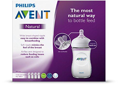 51TBaN60i0L - Philips Avent Natural Baby Bottle, Clear, 9oz, 4pk, SCF013/47