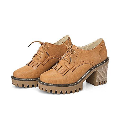 CXQ-Talones QIN&X Bloque de mujer Tacones zapatos de tacón de cabeza redonda Yellow