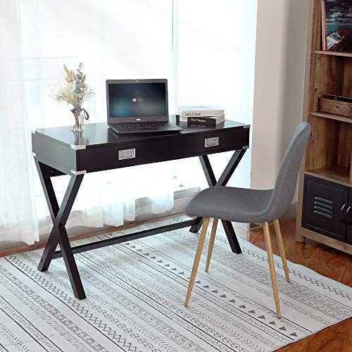 Computer Desk, Multifunctional Table with 2 Drawers, Writing Desk for Home, Office and Study, Black (Tables Drawers With Writing)