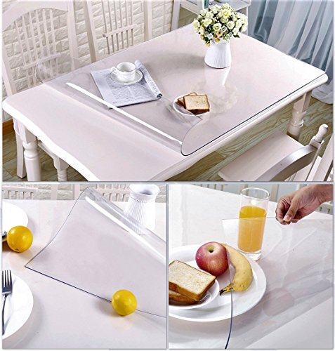2 Set 12 X 24 Inch Square Clear Table Protector Plastic Tablecloth Wooden Furniture Wood Dining Coffee End Side Table Wipeable Cloth Protective Cover Protector PVC Vinyl Mat Tabletop Protection Pad