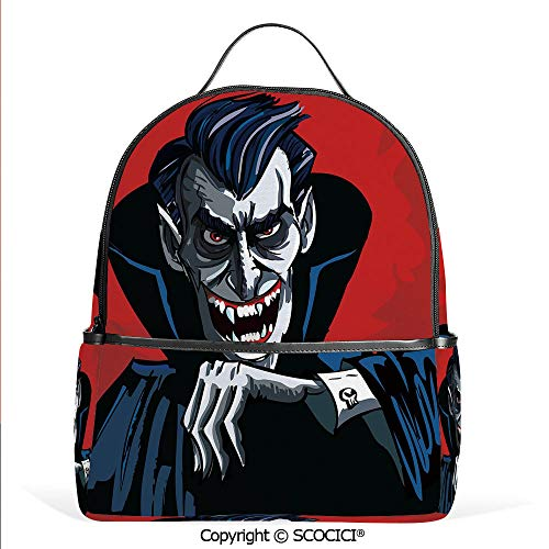 Casual Fashion Backpack Cartoon Cruel Old Man with Cape Sharp Teeth Evil Creepy Smile Halloween Theme,Blue Red Grey,Mini Daypack for Women & Girls