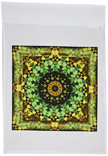 3dRose fl_42579_1 Mandala 29 Floral Flowers Green Turquoise Gold Glowing Peace Meditation Garden Flag, 12 by 18-Inch