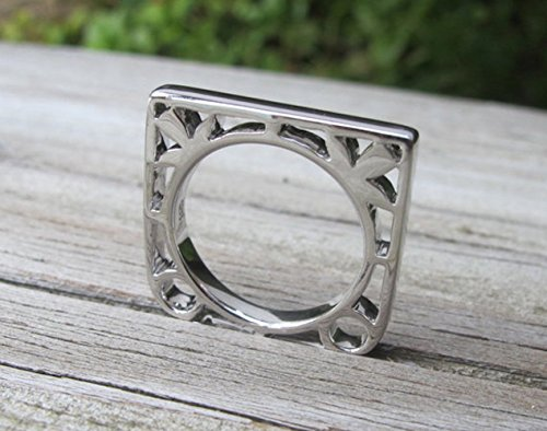 Floral Silhouette Silver Ring Size 6