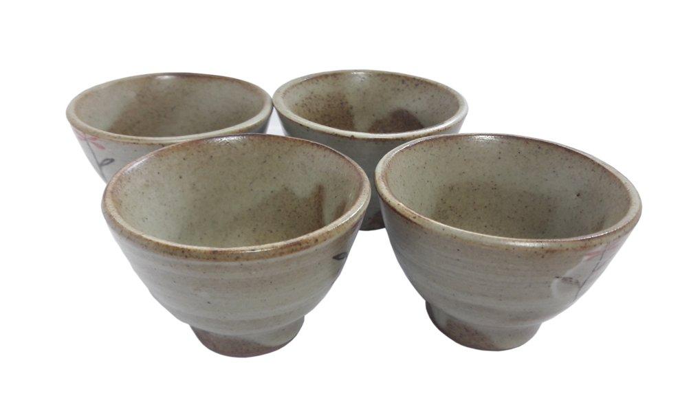 4 Pieces Antique Korean Pottery Ceramic Rice Wine Cups Bowls Sake