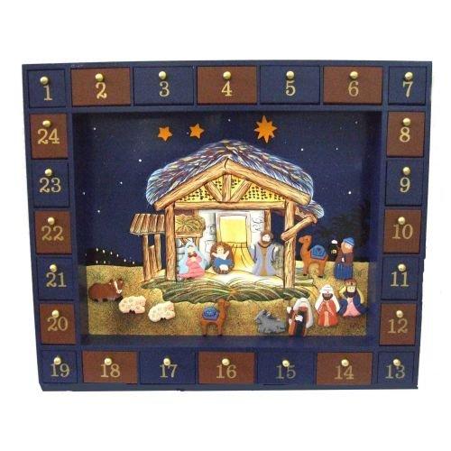 Kurt Adler J3767 Wooden Nativity Advent Calendar with 24 Magnetic Piece by Kurt Adler