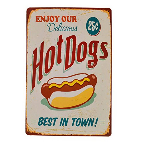 Fenta Pub Bar Wall Decoration Metal Tin Sign Poster Plaque Enjoy Your Delicious (Hot Dog Metal Sign)
