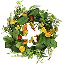 "DII Decorative Leaves & Flowers 16"" Summer Wreath for Front Door or Indoor Wall Décor to Celebrate Spring & Summer Season"