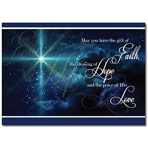 Christian Christmas Greeting Card H1503. The Spirit and Peace of Christ's love is projected on the cover and also on the verse inside. Silver foil-lined envelopes. Christian Christmas Cards