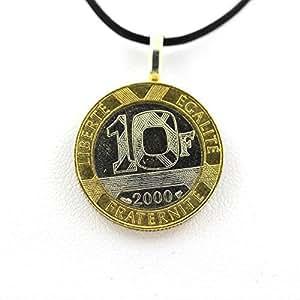 Colgante moneda auténtica Francia 10 de la ingeniería francos Bastille-Cable, color negro