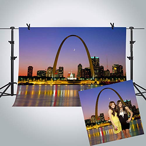 MME Photography Backdrop 10X7ft Beautiful Night View of St. Louis City Background, USA Photography Upgrade Material Seamless Vinyl Photo Studio Props - Louis Photograph