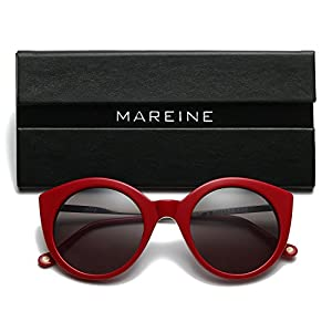 MAREINE Vintage Round Sunglasses UV CR39 Lens Acetate Eyewear-Red Frame With Grey Lens