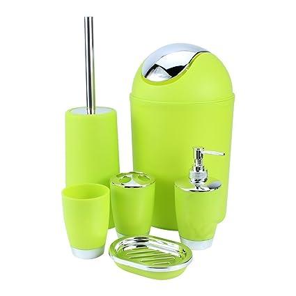 JJOnlinestore – juego de accesorios de baño, de plástico, 6 unidades, dispensador de jabón líquido, soporte para cepillo de dientes, vaso para ...