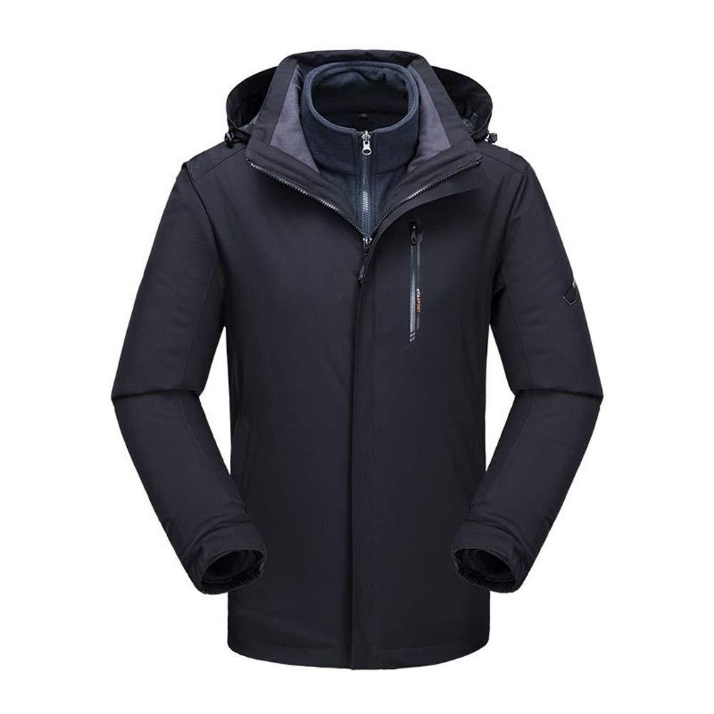 スキーウェア 大型ソリッドカラースキーメンズスキージャケット着用肥厚スポーツウェアM-4XL 理想的なスキー服 (色 : ブラック, サイズ : XL) ブラック X-Large