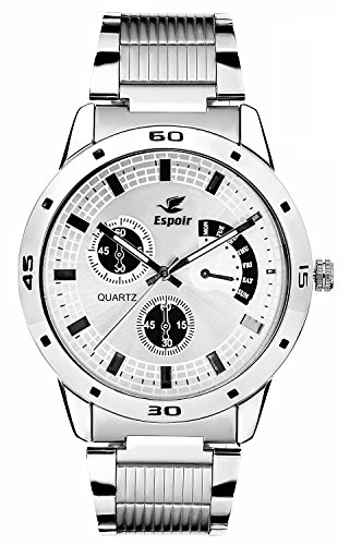 Espoir Analogue White Dial Men's Watch -ES109