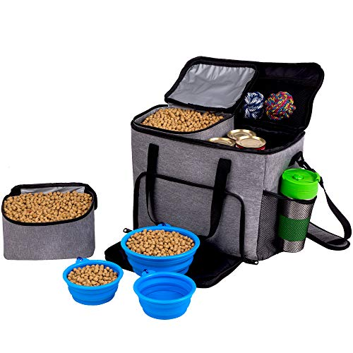 (Dog Travel Bag for Pet Accessories and Food Bag - Airline Approved Pet Carrier Food Bag for Puppy Stuff - Pet Travel Tote Includes 2x Food Containers, 1 Large + 2 Small Collapsible Dog Travel Bowls)