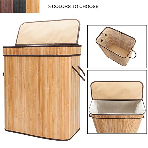 Bonnlo Large Capacity Folding Laundry Basket with 2 Lid Handles and Removable Liner Bamboo Hampers Dirty Clothes Storage Rectangular 20 3/5 W x 13 1/5 D x 24 2/5 H (Natural) by Bonnlo