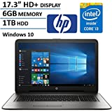 "HP 17.3"" HD+ Display Laptop Computer, Intel Dual Core i3-6100U 2.3Ghz Processor, 6GB Memory, 1TB HDD, USB 3.0, DVDRW, HDMI, Bluetooth, WIFI, RJ45, Windows 10 Home (Certified Refurbished)"