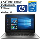 HP 17.3' HD+ Display Laptop Computer, Intel Dual Core i3-6100U 2.3Ghz Processor, 6GB Memory, 1TB HDD, USB 3.0, DVDRW, HDMI, Bluetooth, WIFI, RJ45, Windows 10 Home (Certified Refurbished)