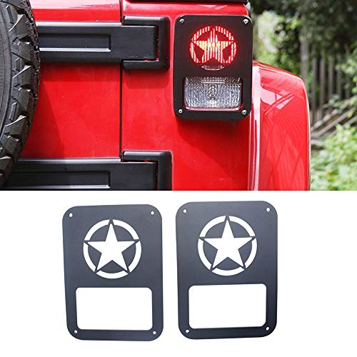 DEF 2Pcs Tail Light Covers Trim Guards Protector Car Accessories for 2007-2018 Jeep Wrangler JK JKU (Freedom Star)