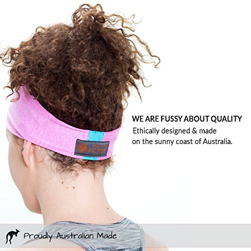 Red Dust Active Lightweight Sports Headband - Moisture Wicking Pink Sweatband - Ideal for Running, Cycling, Hot Yoga and Athletic Workouts - Designed for Women Borrowed by Men by Red Dust Active (Image #4)
