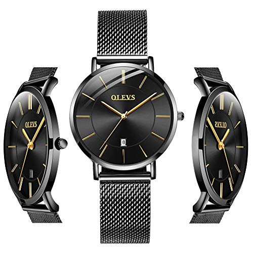 OLEVS Thin Watches for Women Waterproof Black Inexpensive Couples Minimalist Watches Stainless Steel with Date Women Analog Quartz Gift Watch for Birthday Party Business (Best Branded Watches Under 10000)