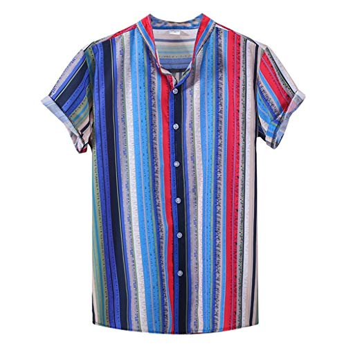 Men's Casual Shirts Summer Short Sleeve Colorful Stripes Printed T-Shirts Tops with Pocket (Dark Blue, L)
