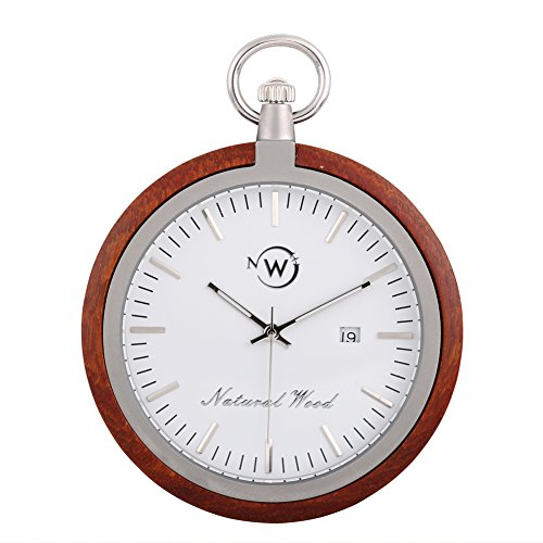 Kwock Natural Wood Pocket Watch Swiss Quartz Movement for Gentlemen(Red Sandalwood)